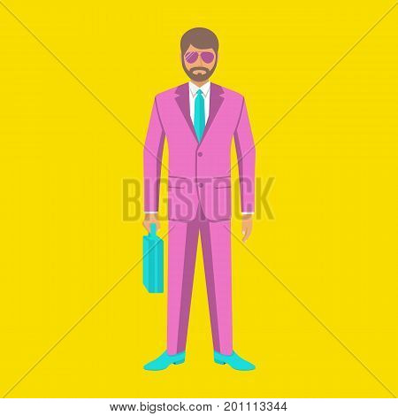 Art pop businessman. Elegant man in stylish pink suit. Young human in glasses. Surrealism. Vector illustration flat design. Isolated on white background. Modern creative person.