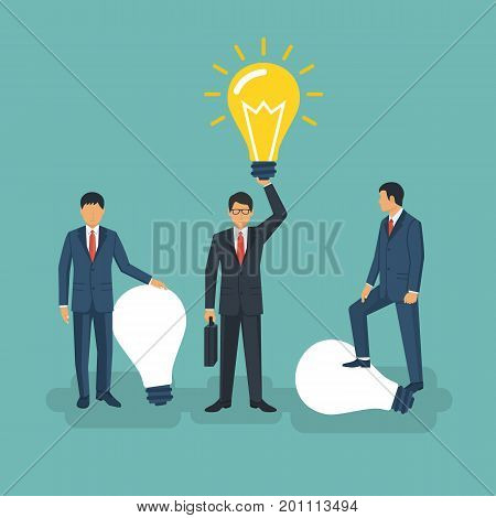 Unique idea. Businessman holding in hand lightbulb concept. Solution innovative technology. Vector illustration flat style design. Electric lamp as symbol of creativity. Outstanding solution, find.