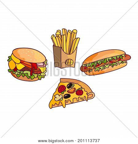 Vector sandwich, burger hot dog set. Fast food flat cartoon isolated illustration on a white background. Triangular fresh sandwich with cheese, tomato and salad