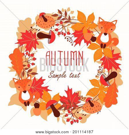 Round frame of autumn leaves. Autumn leaves wreath. Vector illustration