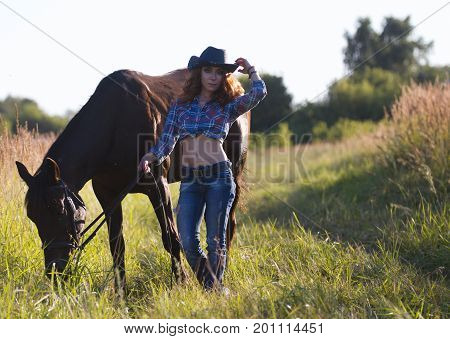 Portrait of a cowgirl - young woman with horse in meadow at summer day, telephoto
