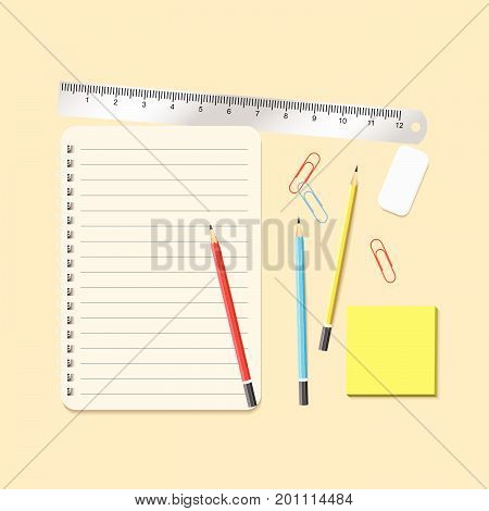 Open Diary And Stickers For Notes, Three Color Of Pencil, Eraser, Ruler And Clips