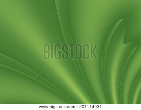 Green modern abstract fractal background illustration with stylized ribbons or draping. Soft smooth elegant art.