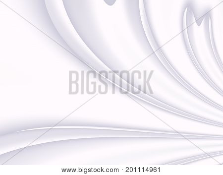 Silver white modern abstract fractal background illustration with stylized ribbons petals or draping. Elegant creative template