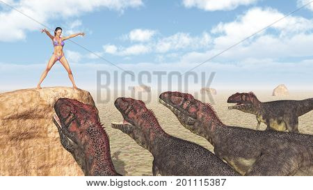 Computer generated 3D illustration with a female magician and the dinosaur Mapusaurus