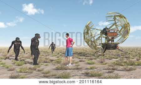 Computer generated 3D illustration with time traveler, time machine and homo habilis