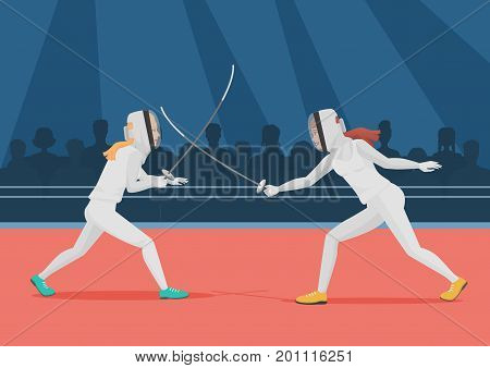 Two people doing fencing. Fencing championship vector illustration