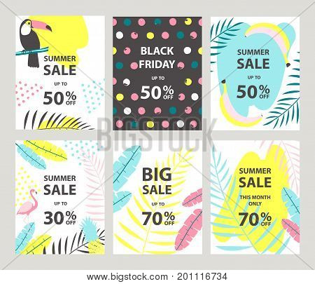 Summer sale banners set with toucan and flamingo. Vector illustration