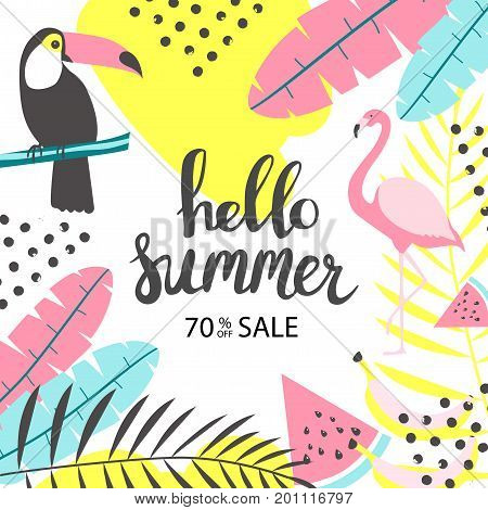 Summer sale banner with toucan and flamingo. Vector illustration