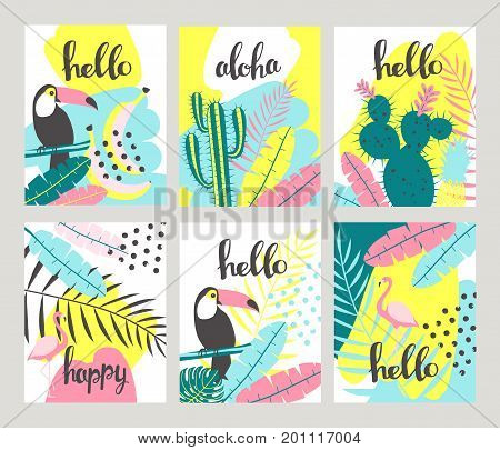 Floral posters set in a tropical style with exotic leaves toucan pineapple flamingos. Can be used for cards posters invitations flyers. Vector illustration