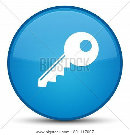 Key Icon Special Cyan Blue Round Button