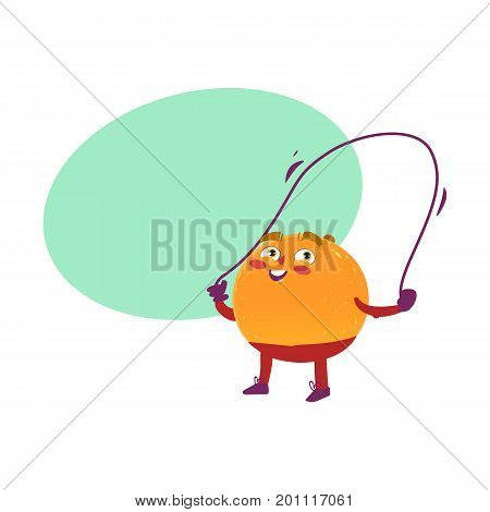 Funny smiling orange character doing sport exercises with jumping rope, comic, cartoon vector illustration isolated on white background. Funny orange hero, character training with jumping rope