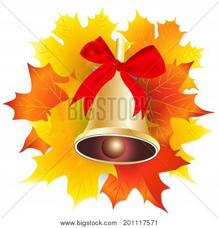 Gold school bell with a red ribbon and maple leaves . Vector illustration