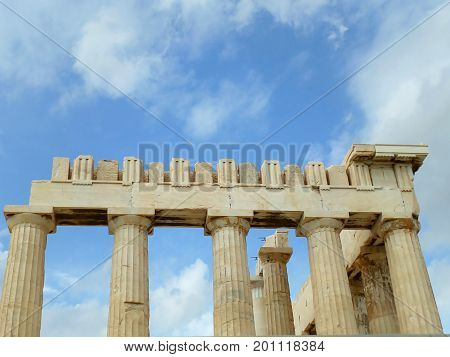 The Upper Part and the Columns of the Parthenon, Acropolis of Athens, Greece