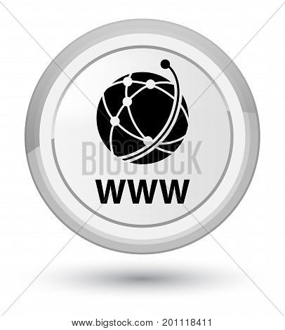 Www (global Network Icon) Prime White Round Button