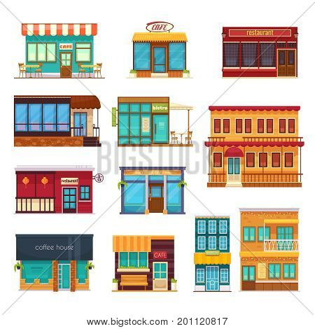 Street view front snack bar cafe coffee house bistro restaurant flat icons collection isolated vector illustration