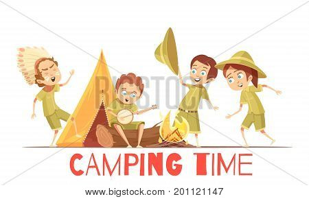 Boys scouts summer camp activities retro cartoon poster with playing indian and singing campfire songs vector illustrations