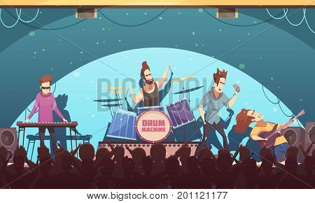 Open air festival rockband live music onstage performance retro cartoon banner with electronic instruments and audience vector illustration