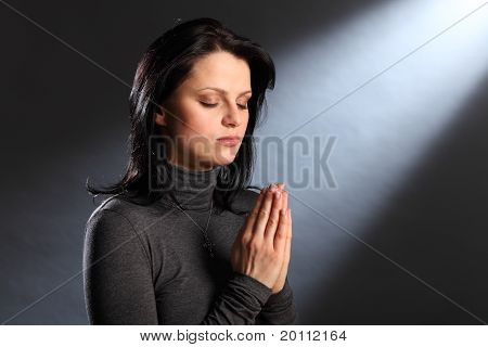 Religion Moment Eyes Closed Young Woman In Prayer