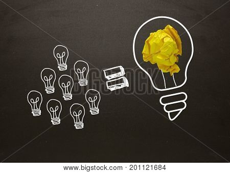 Digital composite of Lots of little light bulbs equal big light bulb with crumpled paper and blackboard