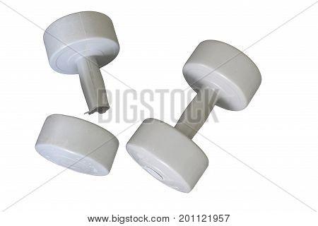 Broken Dumbbell isolated on white background,Broken sports equipment