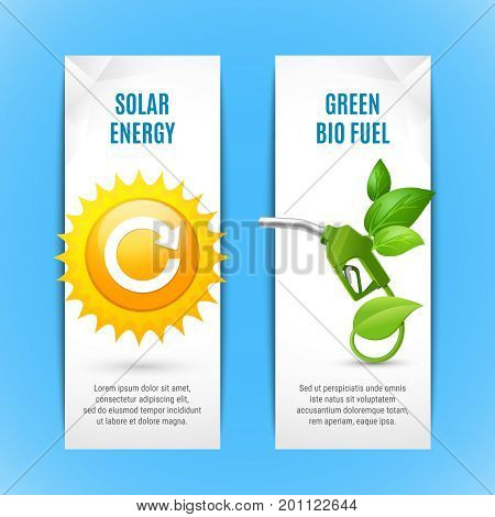 Ecology vertical banners in paper style with solar energy and green bio fuel realistic compositions vector illustration