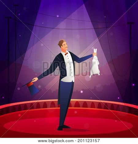 Magic show composition with illusionist  performing trick with the rabbit and hat flat vector illustration