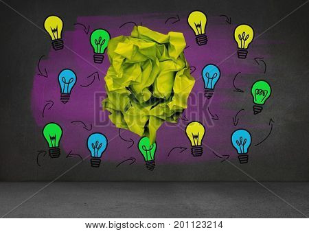 Digital composite of light bulbs with crumpled paper ball