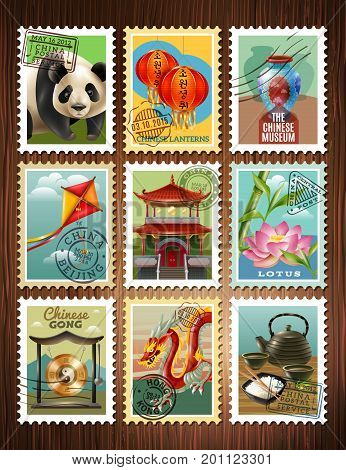 Chinese culture traditions architecture colorful postage stamps set with panda pagoda dragon lotus tea ceremony poster vector illustration