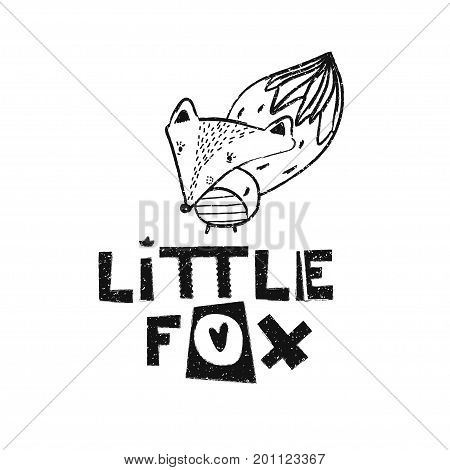 Little fox. Hand drawn style typography poster. Greeting card, print art or home decoration in Scandinavian style. Scandinavian design black and white. Vector illustration