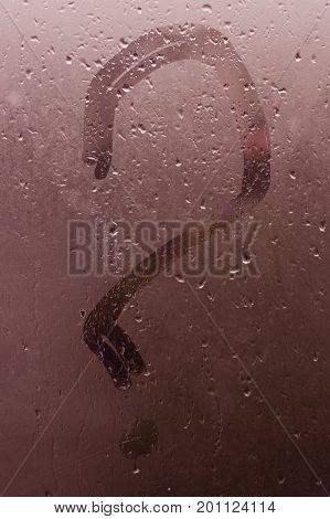 Autumn Rain, The Inscription On The Sweaty Glass - Question Mark. Vertical Shot