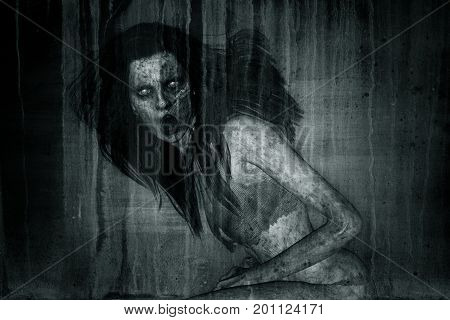 3d illustration of scary ghost woman moaning in the darkHorror backgroundmixed media