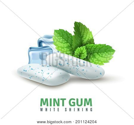 Realistic mint gum with blue inclusions, ice cubes and green leaves on white background vector illustration