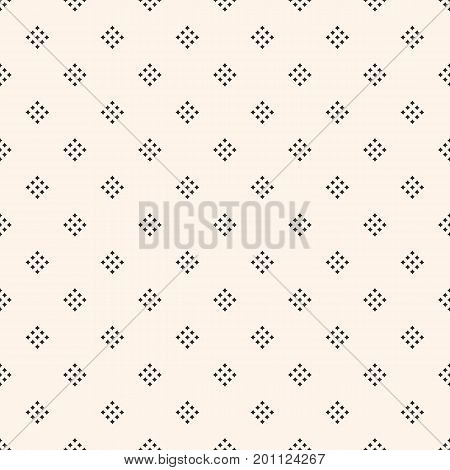 Vector geometric texture with small diamond shapes, tiny rhombuses, squares. Abstract modern seamless pattern. Light monochrome background. Repeat design for decor, textile, fabric, furniture, cloth. Diamond pattern, rhombus pattern.