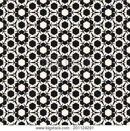 Ornamental pattern. Monochrome geometric ornament texture with triangular shapes, hexagons. Abstract repeat background. Design pattern, textile pattern, covers pattern, web pattern, package pattern, decor pattern, fabric pattern, ceramic pattern.