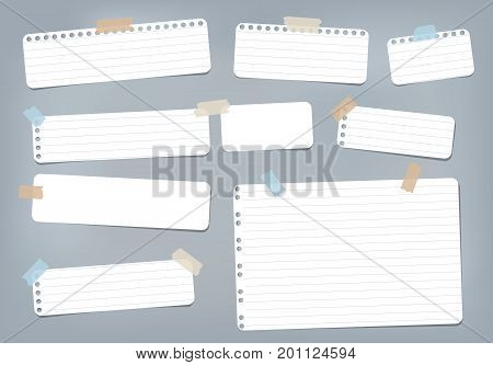 White striped, ruled note, copybook, notebook paper stuck with sticky tape on blue background
