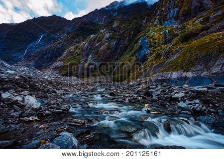 beautiful scenic of franz josef glacier most popular traveling destination in south island new zealand
