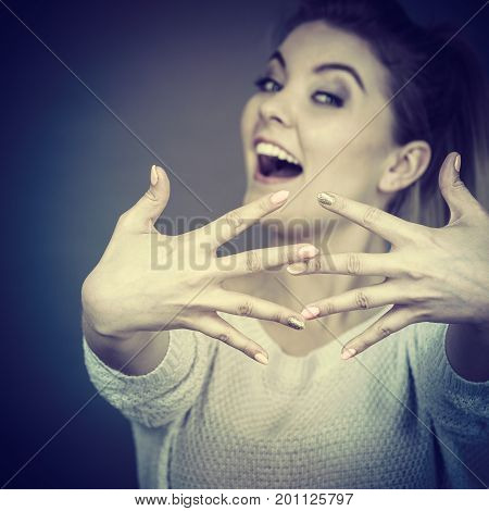 Happy Woman Showing Her Hands