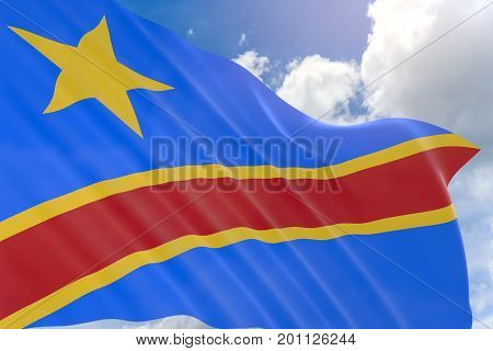 3D Rendering Of Dr Congo Flag Waving On Blue Sky