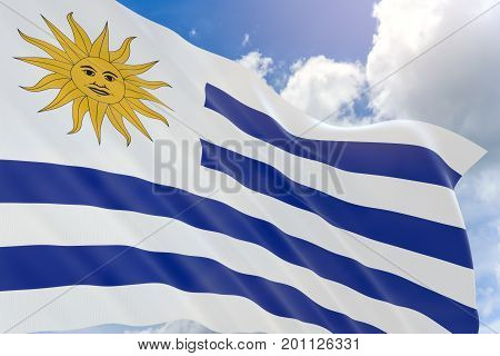 3D Rendering Of Uruguay Flag Waving On Blue Sky Background