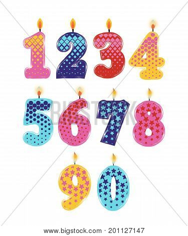 Set of Birthday Candles Isolated on White Background. Numbers One, Two, Three, Four, Five Six Seven, Eight, Nine, Zero. Vector Illustration