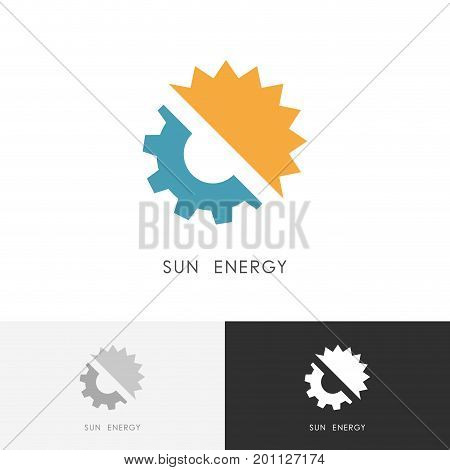 Sun energy logo - gear wheel and solar symbol. Alternative power source, ecology and industry vector icon.