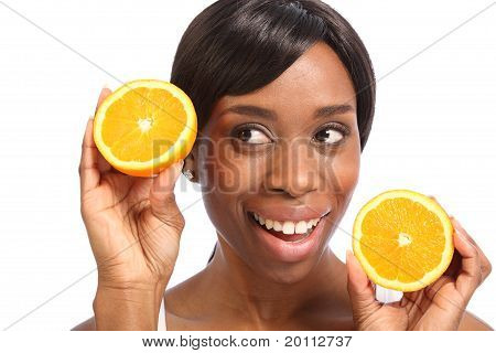 Beautiful African American Woman Healthy Fruit