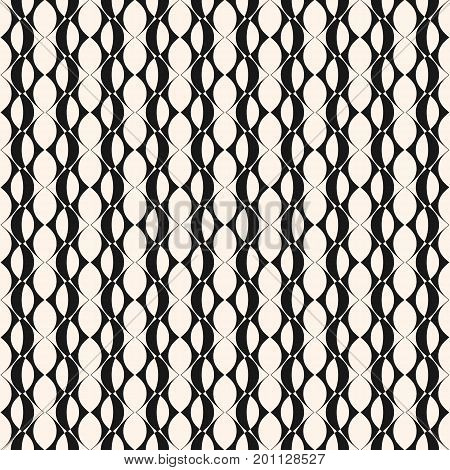 Vector geometric seamless pattern with grid, lattice, rounded geometrical shapes, ovals. Abstract mesh texture. Repeat monochrome background. Design pattern, textile pattern, covers pattern, digital pattern, decor pattern, fabric pattern.