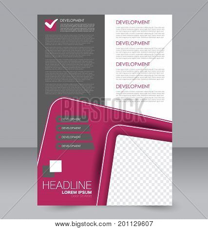 Brochure template. Business flyer. Annual report cover. Editable A4 poster for design education, presentation, website, magazine page.