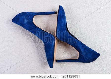 Female Shoes In Dark Blue Color. Pair Of Formal Footwear