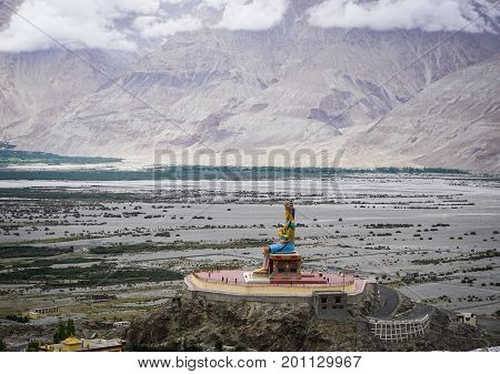 Ladakh India - Apr 1, 2015. The 32 metre (106 foot) statue of Maitreya Buddha near Diskit monastery in Ladakh India. The statue construction was started in 2006.