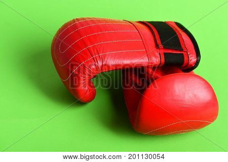 Red Leather Sport Mittens. Pair Of Boxing Gloves.