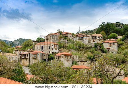 Beautiful traditional achitecture on mountain of Mainalo.Stemnitsa villagePeloponnese.Greece.