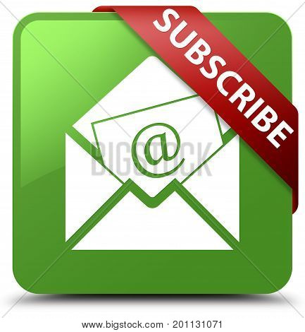 Subscribe (newsletter Email Icon) Soft Green Square Button Red Ribbon In Corner